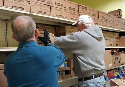 Stocking shelves at Our Daily Bread Food Bank